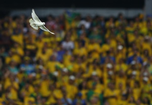 A dove flies after being released before the start of the 2014 World Cup opening match between Brazil and Croatia at the Corinthians arena in Sao Paul